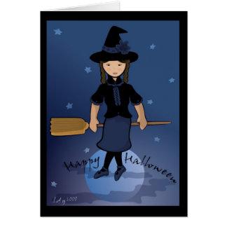 Tarjeta de la bruja del feliz Halloween