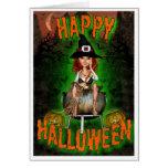 Tarjeta de la bruja - feliz Halloween