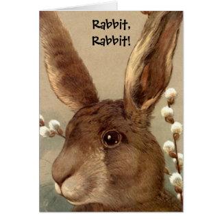 Tarjeta de la buena suerte del conejo del conejo tarjeta de felicitación
