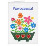 Tarjeta de la buena suerte, saludo polaco - flower