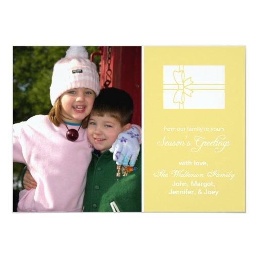 Tarjeta de la caja de regalo del navidad (oro de invitación personalizada
