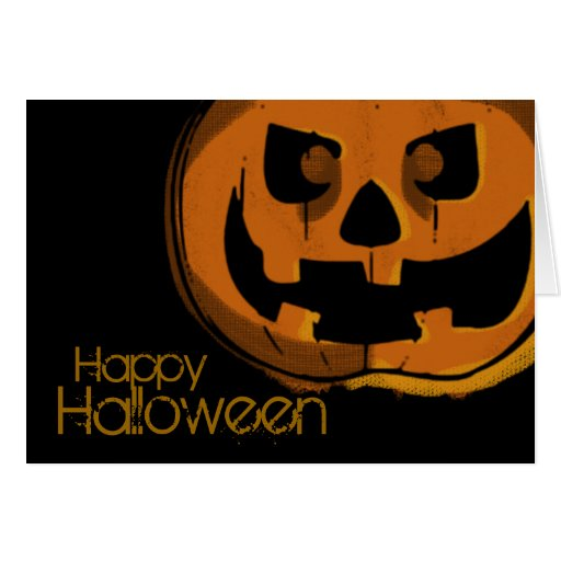 Tarjeta de la calabaza del feliz Halloween