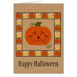 Tarjeta de la calabaza del remiendo de Halloween