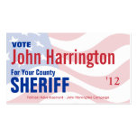 Tarjeta de la campaña política - sheriff del conda tarjeta de visita