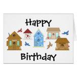 TARJETA de la casa del pájaro del feliz cumpleaños