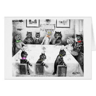 Tarjeta de la catástrofe del navidad de los gatos
