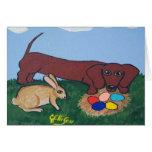 Tarjeta de la caza del huevo de Pascua del Dachshu
