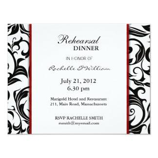 Tarjeta de la cena del ensayo de Borgoña Invitacion Personalizada