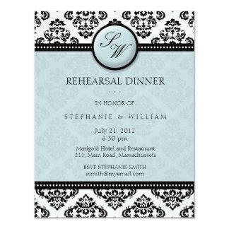 Tarjeta de la cena del ensayo del monograma del invitaciones personales