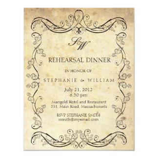 Tarjeta de la cena del ensayo del monograma del comunicados personales