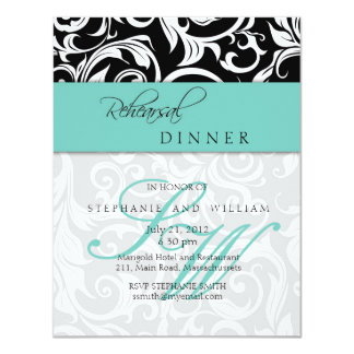 """Tarjeta de la cena del ensayo del monograma del invitación 4.25"""" x 5.5"""""""