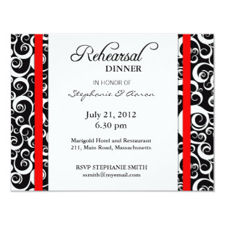 """Tarjeta de la cena del ensayo del remolino del invitación 4.25"""" x 5.5"""""""