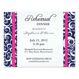 Tarjeta de la cena del ensayo del remolino del comunicado personal