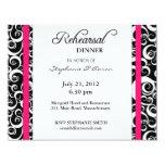 Tarjeta de la cena del ensayo del remolino del invitación personalizada