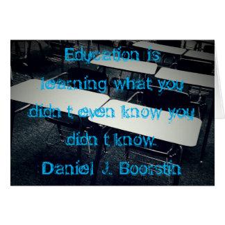 Tarjeta de la cita de la educación, sobres de
