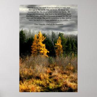 Tarjeta de la cita de Tamarack tres Seattle, cita Póster