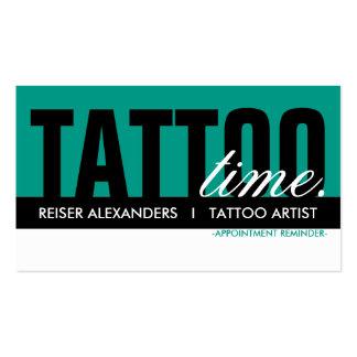 tarjeta de la cita del tiempo del tatuaje tarjetas de visita