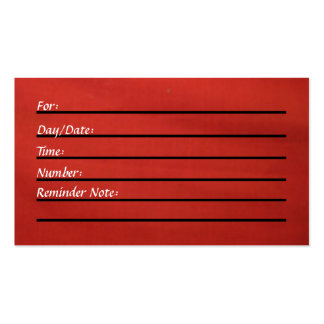 Tarjeta de la cita (roja) tarjeta de negocio