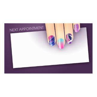 Tarjeta de la cita y de visita del arte del clavo tarjetas de visita