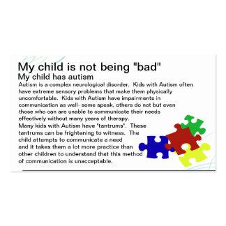 Tarjeta de la conciencia del autismo tarjetas de visita