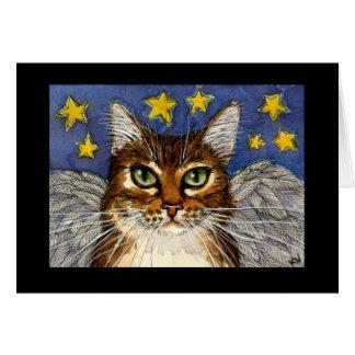 Tarjeta de la condolencia del gato del ángel