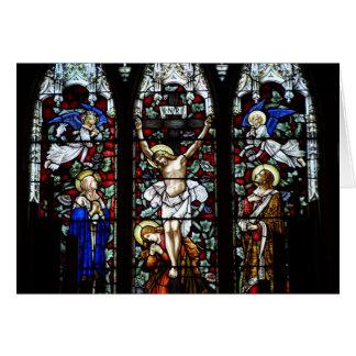 Tarjeta de la crucifixión vitral