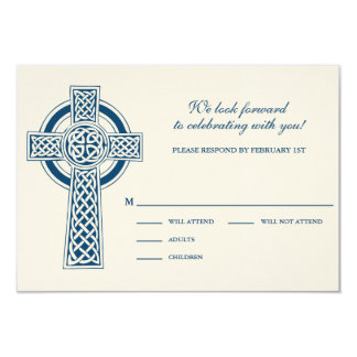 "Tarjeta de la cruz céltica RVSP Invitación 3.5"" X 5"""