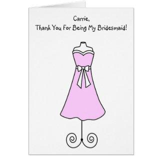 Tarjeta de la dama de honor con el vestido rosado