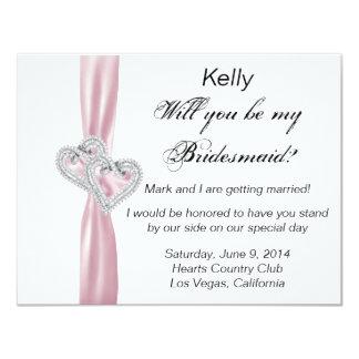Tarjeta de la dama de honor del boda del rosa del invitacion personal