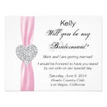 Tarjeta de la dama de honor del boda del rosa del  comunicado