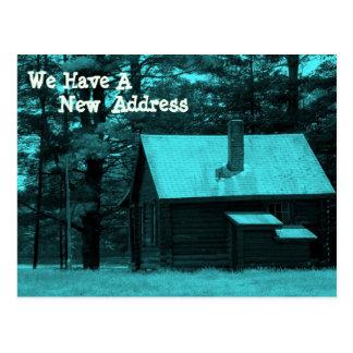 Tarjeta de la dirección de la cabaña de madera tarjetas postales