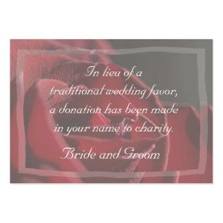 Tarjeta de la donación de la caridad del boda del tarjetas de visita