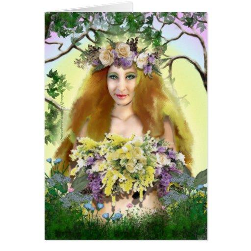 Tarjeta de la doncella de la primavera