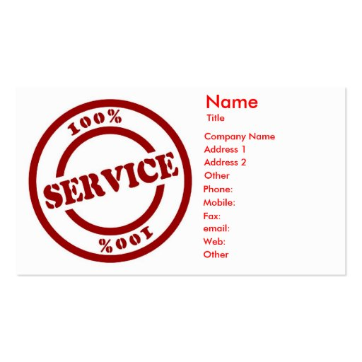 Tarjeta de la empresa de servicios del 100% tarjetas de visita