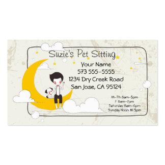 Tarjeta de la empresa de servicios del mascota que tarjeta de visita