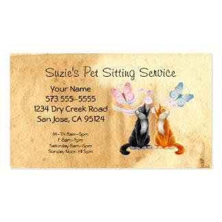 Tarjeta de la empresa de servicios del mascota que tarjetas de visita