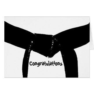 Tarjeta de la enhorabuena de la correa negra de