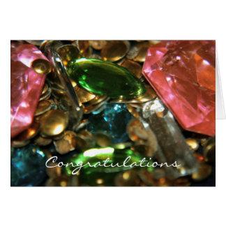 Tarjeta de la enhorabuena de las gemas