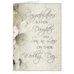 Tarjeta de la enhorabuena del boda de la hija y de