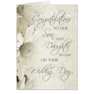 Tarjeta de la enhorabuena del boda del hijo y de l