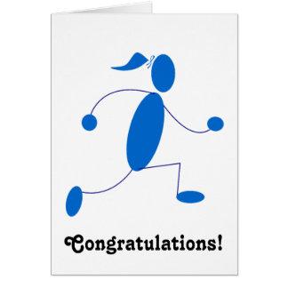 Tarjeta de la enhorabuena del chica del corredor