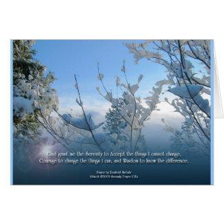 Tarjeta de la escena de la nieve del rezo de la