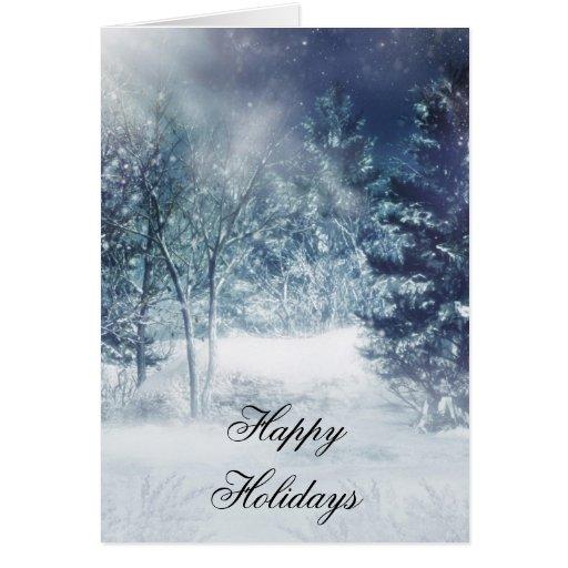 Tarjeta de la escena del invierno del navidad del