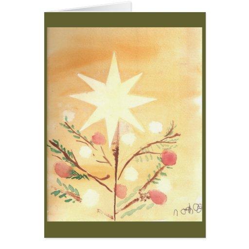 Tarjeta de la estrella del navidad de Folkart