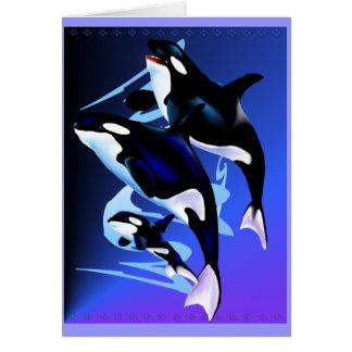Tarjeta de la familia de la orca