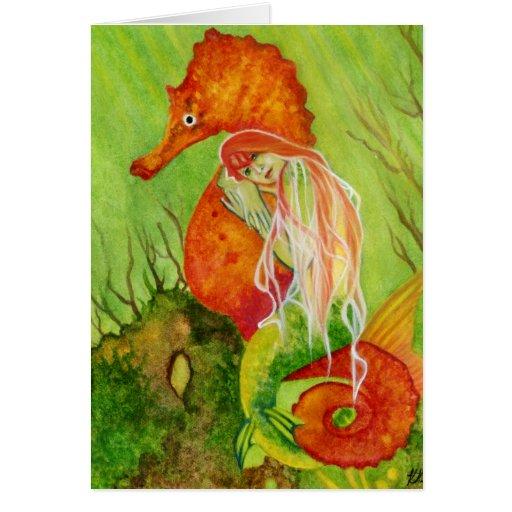 Tarjeta de la fantasía de la sirena del Seahorse
