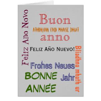 Tarjeta de la Feliz Año Nuevo de los otros idiomas