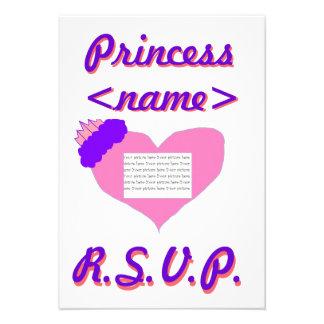 Tarjeta de la fiesta de cumpleaños de princesa Hea Invitacion Personalizada