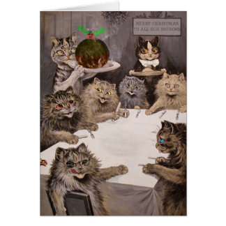Tarjeta de la fiesta de Navidad de los gatos de Lo