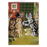 Tarjeta de la fiesta del té del gato de Louis Wain